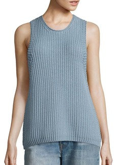 Vince Waffle-Knit Sleeveless Cotton Sweater