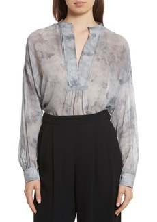 Vince Watercolor Marble Print Silk Blouse