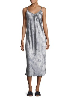 Vince Watercolor Marble Shirred-Neck Camisole Dress