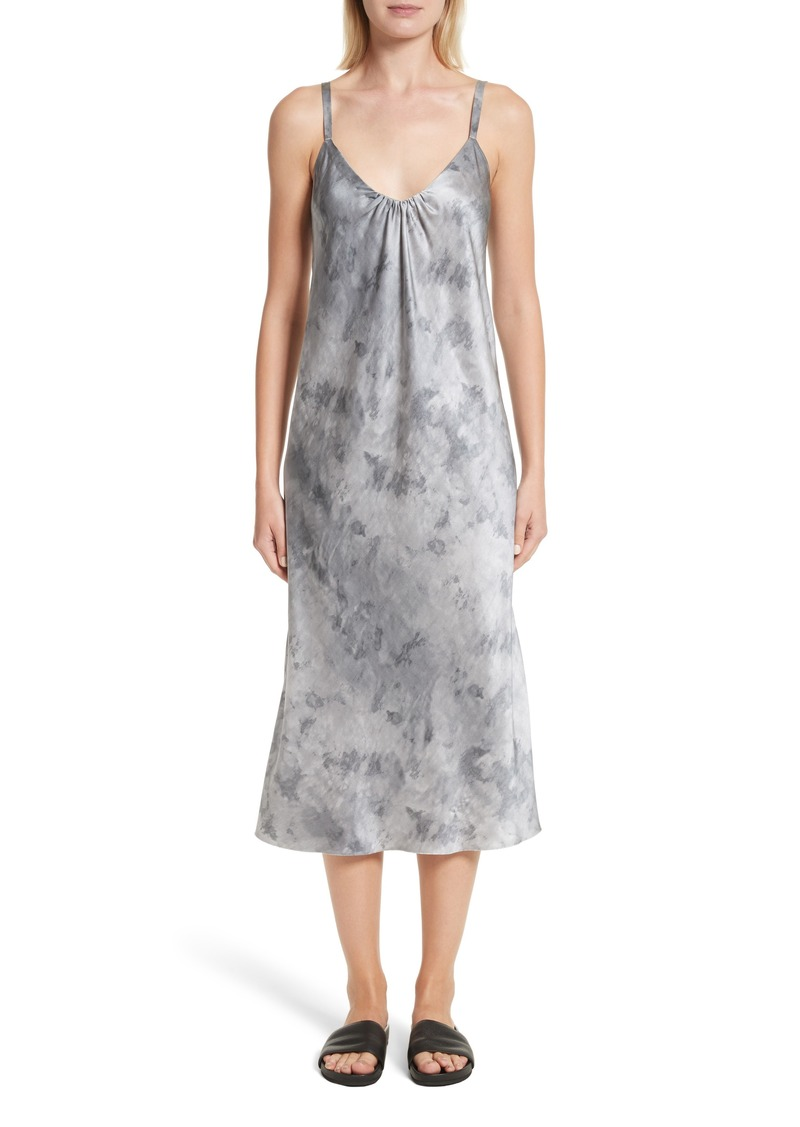 Vince Watercolor Marble Silk Midi Dress