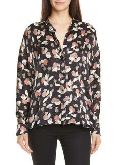 Vince Watercolor Petal Silk Blouse