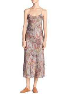 Vince Watercolor Silk Midi Slip Dress