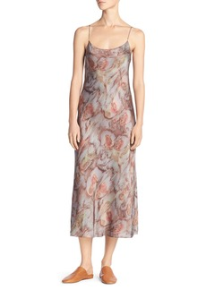 Vince Watercolor Silk Midi Slip Dress