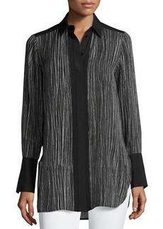 Vince Wavy Stripe-Print Silk Blouse