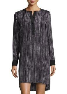 Vince Wavy Stripe-Print Silk Shirtdress