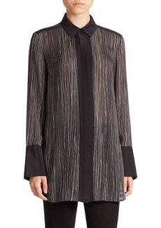 Vince Wavy Striped Silk Blouse