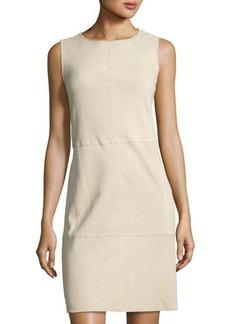 Vince Whipstitch Nubuck Leather Sleeveless Dress