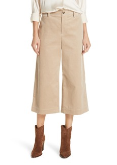 Vince Wide Leg Cotton Corduroy Crop Pants