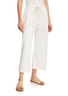 Vince Wide-Leg Cropped Cotton Drawstring Pants