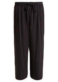 Vince Wide-leg pin-striped tie-waist trousers