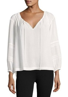 Vince Wide-Sleeve Lace-Inset Blouse