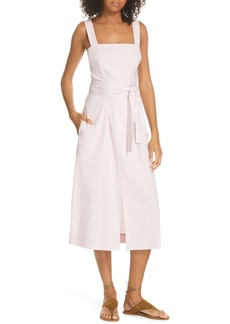 Vince Wide Strap Belted Linen Blend Dress