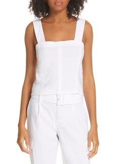 Vince Wide Strap Linen Blend Top