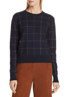 Vince Windowpane Check Cashmere Sweater