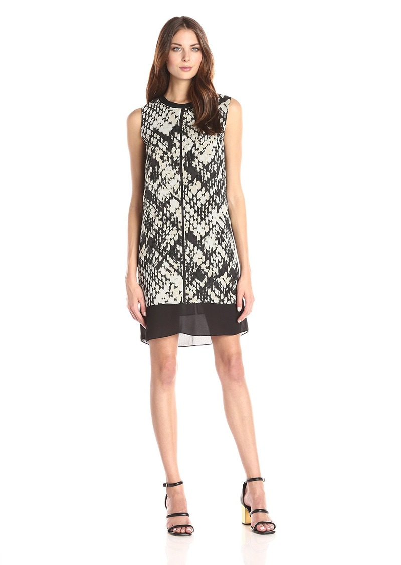 Vince Women's Basket Weave Print Double Layer Dress