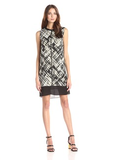 Vince Women's Basket Weave Print Double Layer Dress
