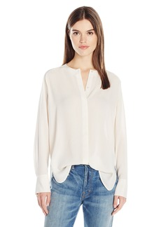 Vince Women's Collarless Pleat Back Blouse  S