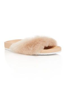 Vince Women's Garrison Leather and Fur Pool Slide Sandals
