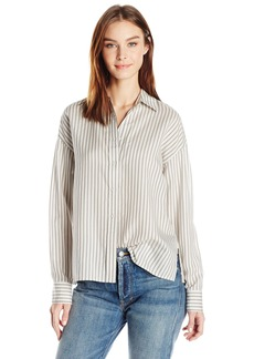 Vince Women's Menswear Stripe Cropped Shirt  S