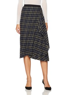 Vince Women's Multi Plaid Drape Front Skirt