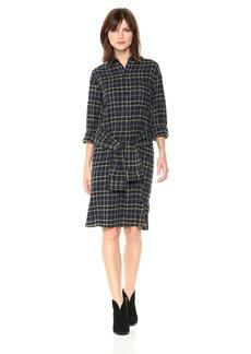 Vince Women's Multi Plaid Tie Front Dress  L