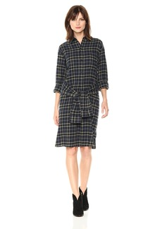 Vince Women's Multi Plaid Tie Front Dress  XS