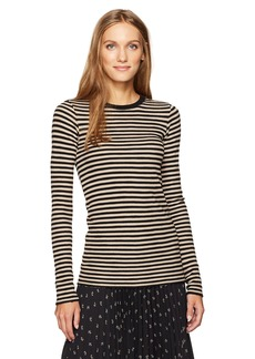 Vince Women's Railroad Stripe L/s Crew  M
