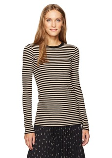 Vince Women's Railroad Stripe L/s Crew  S