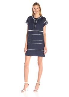 Vince Women's Ramie Lace Insert Popover Dress