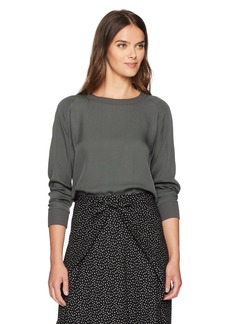 Vince Women's Rib Trimmed L/s Blouse Frog S
