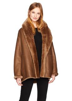 Vince Women's Shawl Collar Shearling Coat  L