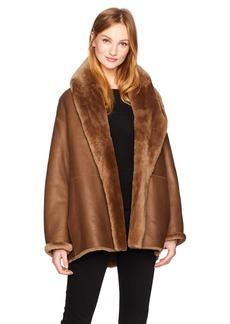Vince Women's Shawl Collar Shearling Coat  M