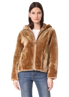 Vince Women's Shearling Hooded Jacket