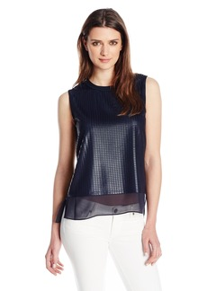 Vince Women's Sleeveless Mesh Overlay Blouse