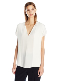 Vince Women's S/s Split Neck Pintuck Blouse