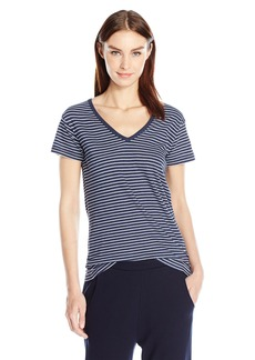 Vince Women's S/s Striped V Neck Tee  M