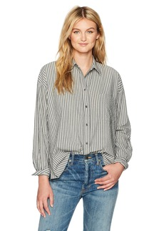 Vince Women's Striped Boxy Shirt Black/Grey/White M