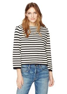 Vince Women's Striped Cotton Pullover  L