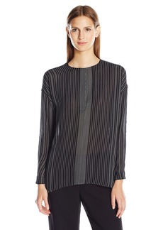 Vince Women's Striped Covered Placket Blouse