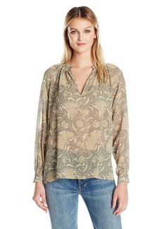 Vince Women's Vintage Floral Pleat Nk Blouse  L
