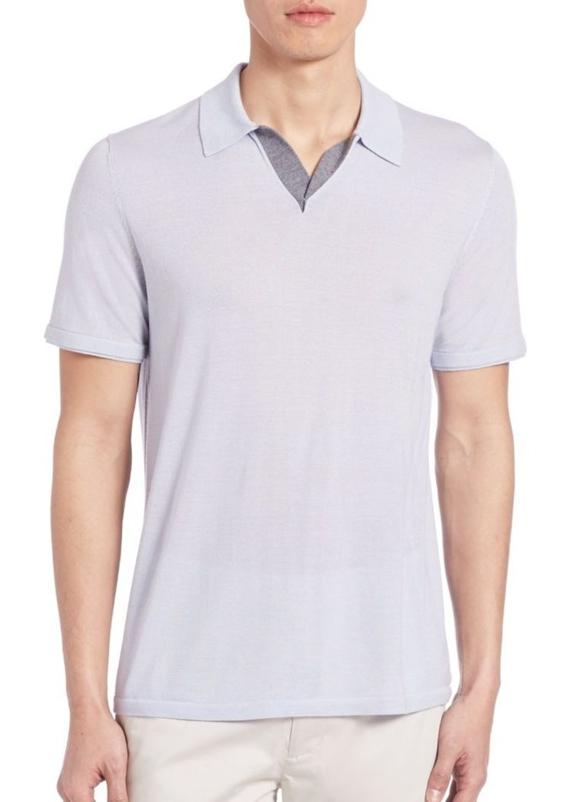 Vince Vince Wool Silk Blend Jersey Polo T Shirt T