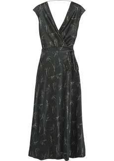 Vince Wrap-effect printed silk-satin midi dress
