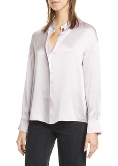 Vince Wrap Front Long Sleeve Silk Blouse