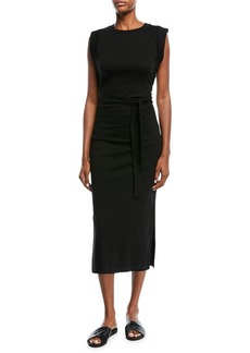 Vince Wrap-Waist Cotton Midi Dress