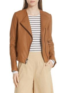 Vince Zip Cross Front Leather Jacket