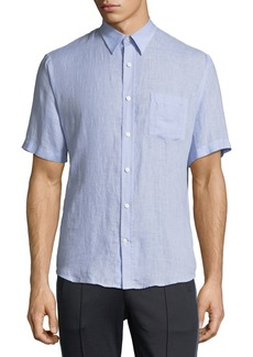 1aae92f2 Vince Deep Pleat Boxy Fit Short Sleeve Pinstripe Button Up | Casual ...