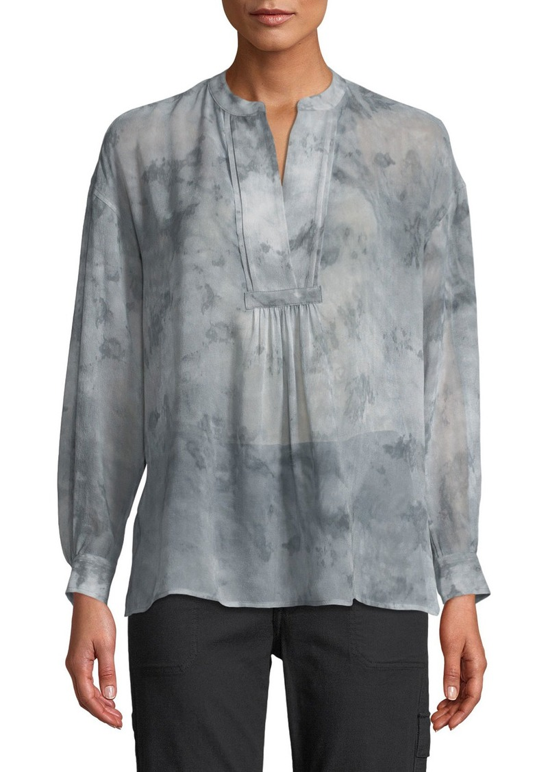 b89a1a38a68887 On Sale today! Vince Watercolor Marble Shirred Silk Blouse