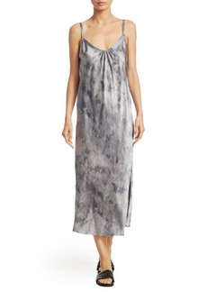 Vince Watercolor Marble Shirred Silk Dress