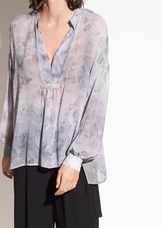 Vince Watercolor Marble Shirred Silk-Georgette Blouse