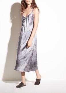 Watercolor Marble Shirred Silk-Satin Cami Dress